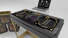 Sweet DJ furniture by Evoni. This would make ANY bachelor pad POP! Dj Dj Dj, Dj Stand, Music Studio Room, Music Rooms, Dj Setup, Recording Studio Design, Dj Gear, Vinyl Storage, Dj Booth
