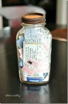 Ticket Stub Memory Jar: If you happen to keep ticket stubs from movies, concerts or fun events you've attended with your loved one, place them all in a memory jar to put on display on a bookshelf in your house!