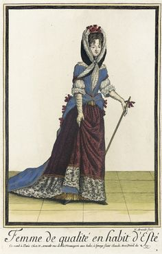 "1682-1688 French Fashion plate ""Recueil des modes de la cour de France, 'Femme de Qualité en Habit d'Esté'"" at the Los Angeles County Museum of Art, Los Angeles"