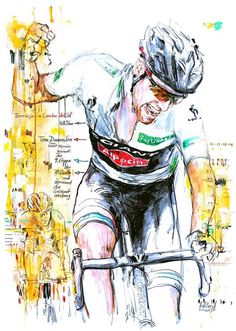 Tom Dumoulin Vuelta a Espana By Horst Brozy Cycling Motivation, Cycling Quotes, Cycling Art, Cycling Bikes, Cycling Jerseys, Golden Bike, Ride Drawing, Bicycle Race, Bike Rides