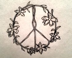 Flower vines forming a peace symbol