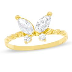 Child's Cubic Zirconia Butterfly Ring in 10K Gold