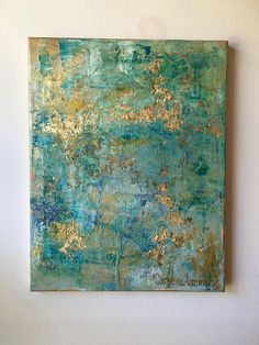 Dimensions: x x inches Original Abstract Medium: Acrylic , gold Leaf , & clear wax Surface: Wrapped Canvas Finish: Matt Varnish Sides: Painted Gold Gold Leaf Art, Painting With Gold Leaf, Abstract Canvas, Painting Abstract, Painting Canvas, Blue Abstract, Abstract Landscape, Painted Leaves, Acrylic Art