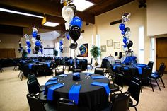 Royal Blue And Black Party Decorations Dads Party Pinterest