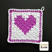 Make this washcloth or dishtowel for Valentine's Day or just for someone you love. The design is worked in corner to corner with a graph for the heart motif.