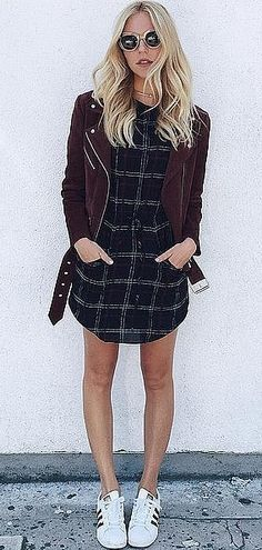 A Plaid Dress, a Suede Jacket, and Sneakers