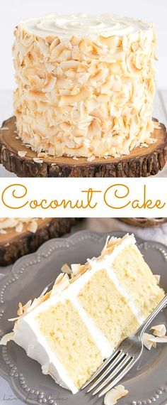 Coconut Cake! This moist and delicious coconut cake recipe is infused with natural coconut flavour throughout and decorated with giant toasted coconut flakes. | livforcake.com