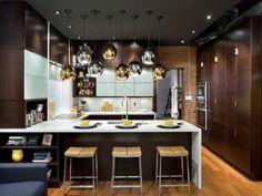 Metallic Pendants. Contemporary Kitchens from HGTV Designers' Portfolio --> http://www.hgtv.com/designers-portfolio/room/contemporary/kitchens/1530/index.html#/id-7831/room-kitchens/style-contemporary?soc=pinterest