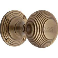 Heritage Brass Antique Brass Reeded Mortice Door Knobs - Brass Door Knobs on Rose Polished Brass, Solid Brass, Antique Brass Door Knobs, Round Door, Door Furniture, Internal Doors, Door Handles, Diys, At Least