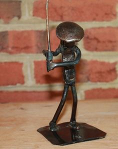 Sculpture: ($24.99) Railroad Tie Metal Golfer Figurine Roland Metal Art Primitive Art