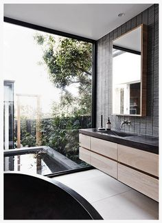 Gorgeous bathroom with exterior views