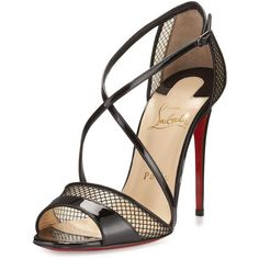 Christian Louboutin Slikova Patent Mesh Red Sole Sandal ($935) ❤ liked on Polyvore featuring shoes, sandals, heels, louboutin, pumps, black, ankle tie sandals, ankle strap heel sandals, ankle wrap sandals and ankle strap sandals