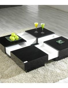 Extendable coffee table with storage - a large telescopic party table in two-three seconds.