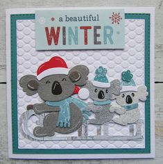 A beautiful winter 3d Cards, Love Cards, Aussie Christmas, Xmas, Marianne Design Cards, Bear Card, Australia Day, Christmas Cards To Make, Animal Cards