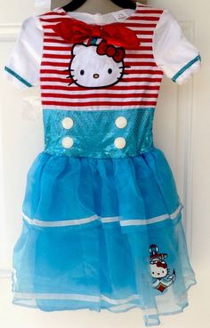 Hello Kitty Girls Costume with Headband Size S 4-6 #Sanrio #Dress