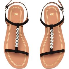 Sandals with Rhinestones $24.99 ($25) ❤ liked on Polyvore featuring shoes, sandals, ankle wrap sandals, black ankle strap shoes, rubber sole shoes, black rhinestone sandals and embellished shoes