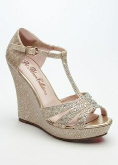 Glitter T Strap Wedge Sandal Style AALLE2