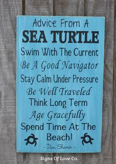 rustic beach sign advice from a sea turtle Lessons wisdom décor bathroom nautical theme inspirational poem house print gift ocean quote wall art carova crafts etsy wood plaque