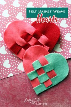 The kids and I will make a felt basket weave heart craft for close friends. Wouldn't it be fun if we mixed it up and made them in all kinds of rainbow colors?