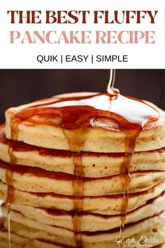 The Best Fluffy Pancake Recipe | Quick | Easy | Simple! Breakfast is served with the best fluffy pancakes you have ever seen! The Best Fluffy Pancakes recipe you will fall in love with. Full of tips and tricks to help you make the best pancakes…ever! You'll never go back to another pancake recipe after you try these! Fluffy Pancakes, Pancakes And Waffles, Quick And Easy Breakfast, Sunday Breakfast, Tasty, Yummy Food, Breakfast Recipes, Breakfast Ideas, Easy Food To Make