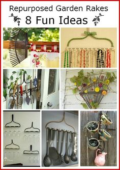 What do you do with a rake that you can't use anymore?   Here are a few practical  & decorative ways to repurpose old rakes.