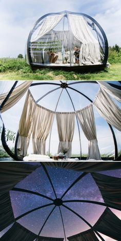 The coolest camping / glamping dome. The coolest camping / glamping dome. Bell Tent Camping, Camping Glamping, Luxury Camping, Camping And Hiking, Outdoor Camping, Camping Hacks, Camping Gear, Camping Gadgets, Camping Checklist