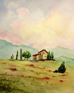 Casa de campo italiana, paisaje, acuarela original, 8 x 10 pulgadas.  Arte no está enmarcado.  Arte se embala cuidadosamente para el envío.