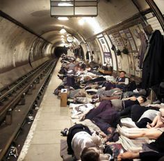 People Sheltering In WW2 In 1940 On Platform At Elephant & Castle Tube Station Elephant & Castle South East London England