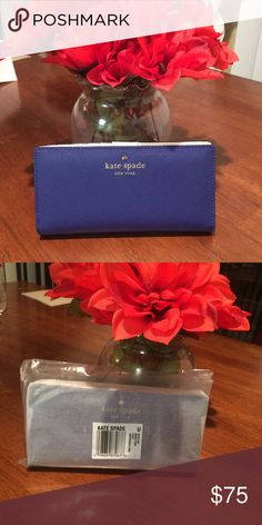 NWT Kate Spade Wallet- Emperorble Blue Description: Grand Street Stacy style wallet. Clasp inside with credit card holders and back zipper/compartment Retail:$115 Style: Grand Street Stacy Color: Emperorble blue! Brand: #katespade  Bought at: Kate Spade Condition: New with tags, will come in original plastic & paper wrapping. Was only removed for the photo. kate spade Bags Wallets