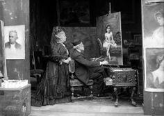 Il pittore Michele Gordigiani (Firenze, 1835-1909) con la moglie nel suo studio. Fine XIX sec.