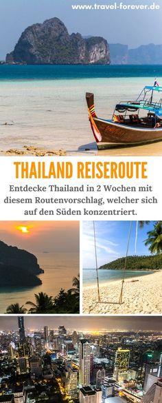 Thailand Reiseroute für eine Rundreise in 2 Wochen mit Reisetipps. Hier findest du meine detaillierte Routenenempfehlung mit einigen der wichtigsten und schönsten Reisezielen in Thailand - Schwerpunkt Süden.