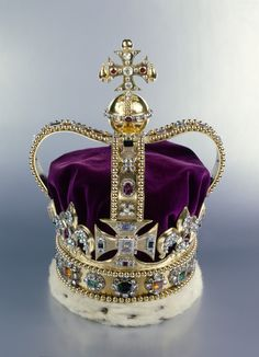 t Edward's Crown. Gold, silver, platinum, enamel, tourmalines, topazes, rubies, amethysts, sapphires, garnet, peridot, zircons, spinel, aquamarines, velvet and ermine. Acquirer: Charles II, King of Great Britain (1630-85). Provenance: Commissioned for the Coronation of Charles II on 23 April 1661 from the Crown Jeweller, Robert Viner.