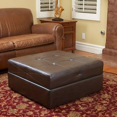 Home Loft Concept Maggio Leather Storage Ottoman & Reviews | Wayfair