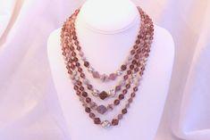 Amethyst Purple Glass Necklace Multistrand Vintage Art Glass