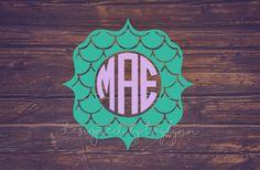Mermaid Scale Monogram, Mermaid Decal, Yeti Decal, Car Decal, Mermaid Monogram, Decals, Monograms, Monogram Decals,…
