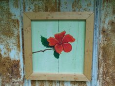 Hibiscus painting on reclaimed wood with by BarnCountryFurniture, $85.00