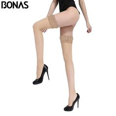 Transparent Stay Up Stockings Summer Sexy Thigh High Nylon Solid Spandex Black Lace Knee Socks Wholesale