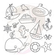 Digital Stamps Nautical Sea Design Elements by MayPLDigitalArt, $4.20 #nautical #sea #clipart #digitalstamps