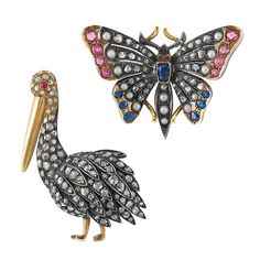 Silver, Gold and Diamond Pelican Brooch and Antique Diamond, Gem-Set and Split Pearl Butterfly Brooch