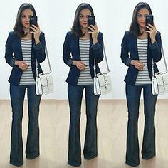 """870 curtidas, 31 comentários - Ana Letícia Mattos (@anitabemcriada) no Instagram: """"Bom dia!!! E pra sexta-feira, jeans, branco e azul, pra fechar a semana #NalidacomAnita! . Sem…"""""""