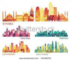 skyline detailed silhouette set (Istanbul, Hong Kong, Kuala Lumpur, Jerusalem, Johannesburg). Vector illustration - stock vector