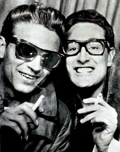Awesome people hanging out together - Waylon Jennings and Buddy Holly
