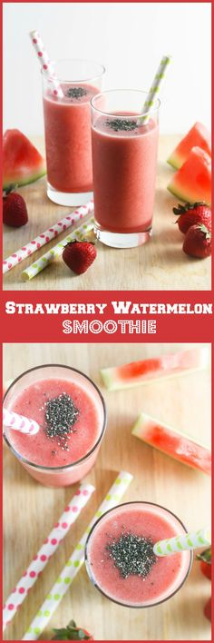 Strawberry Watermelon Smoothie, made with only 3 wholesome ingredients! http://www.laurenkellynutrition.com