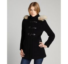 Marc New York black wool-cashmere and fur trim 'Harley' hooded toggle coat