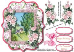 Beautiful Bracket with french roses and Lace on Craftsuprint designed by Ceredwyn Macrae - A lovely card to make and give to anyone on there birthday with Lovely French roses and lace has two greeting tags and a blank one , - Now available for download!
