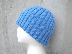 Blue Wool Hat Hand Knit Teens Men Women Watch Cap by Girlpower