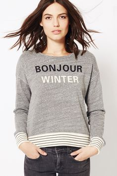 Bonjour Winter Striped Rib Pullover from Sundry Graphic Sweatshirt, Pullover, Sweatshirts, Winter, Fabric, Model, Sweaters, Cotton, How To Wear