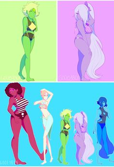 The Crystal Gems in swimsuits