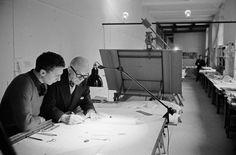 Rene Burri FRANCE. Paris. 7th arrondissement. 35, rue de Sèvres. Le Corbusier going over design plan with one of his collaborators. Image Reference PAR163129 (BUR1959009W00042/15) © Rene Burri/Magnum Photos