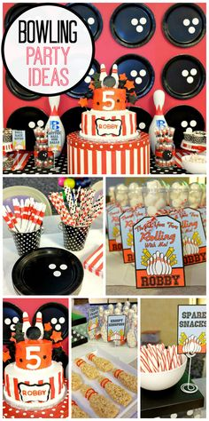 A fun Bowling birthday party with Rice Krispie bowling pins and an incredible cake and decorations!  See more party ideas at CatchMyParty.com!